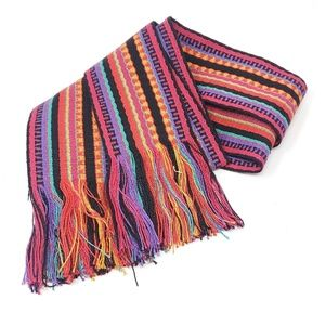 Accessories - Boho Multicolor Thick Fringed Wide Striped Belt